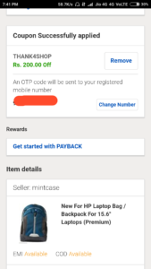 Ebay - Rs 200 off on Shopping of Rs 800 Proof 2