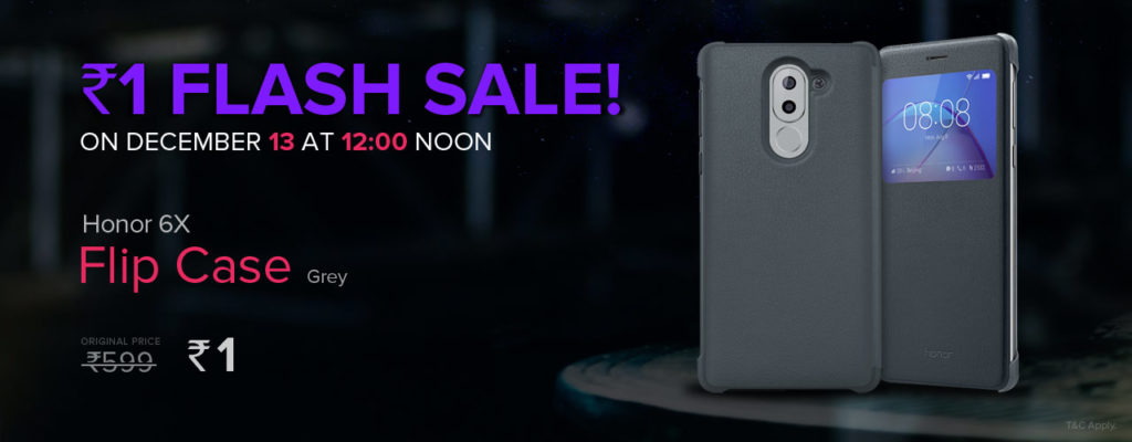 (Upcoming)Honor Flash Sale – Get Honor 6x Flip Case at Rs.1 image