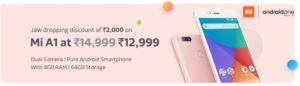 Flipkart Mi A1 (64 GB, 4 GB RAM) Rs 12999 10% Off with SBI Credit Card