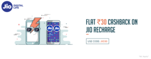 Freecharge – Get flat Rs.30 cashback on JIO recharge