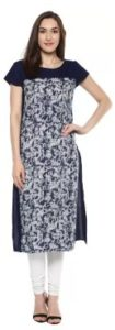 KRAPAL Casual Printed Women Kurti  (Blue)