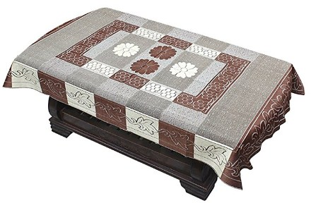Yellow Weaves™ Transparent Center Table Cover 4 Seater 40X60 Inches (Coffee Brown)