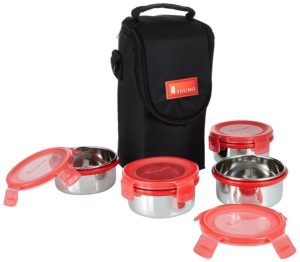 Solimo Stainless Steel Lunch Box Set with Bag, 300ml, 11cm Diameter, 4-Pieces