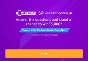 Subscribe & Save Quiz Answer & win Rs.5000