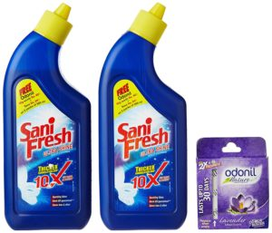 Amazon Pantry - Buy Sanifresh Toilet Cleaner 500ml+500ml (Free Odonil) for Rs 74 only