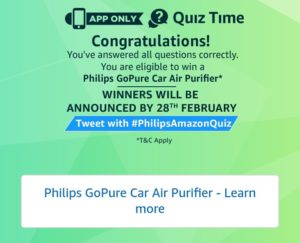 Amazon Philips Car Purifier Quiz Answers