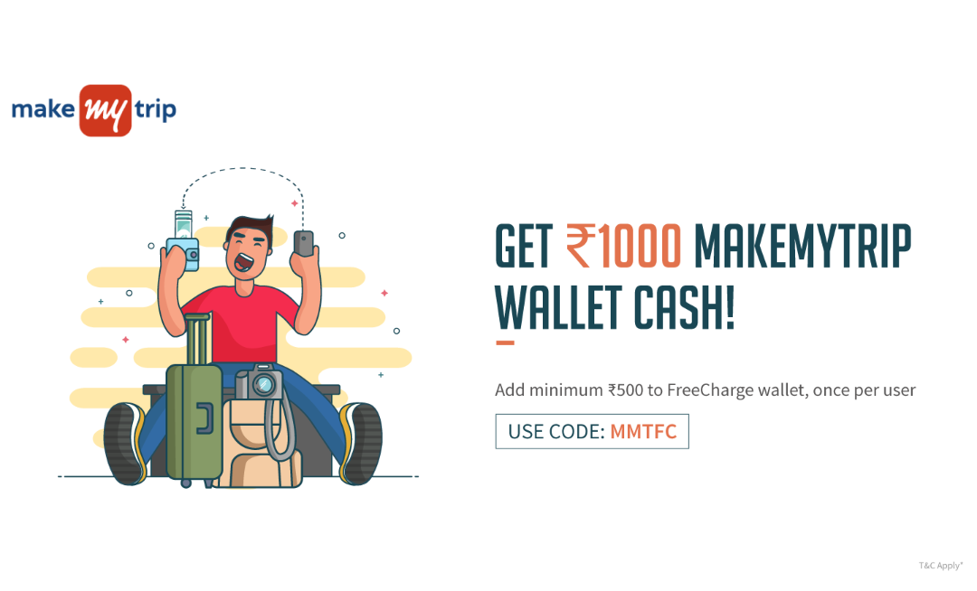 FreeCharge - Add Rs  500 to wallet and Get Rs  1000