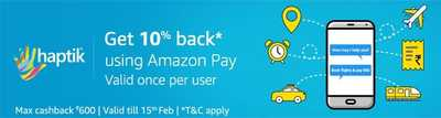 Haptik - Get 10% cashback upto Rs 600 on any transaction via Amazon Pay Balance
