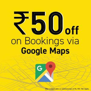 Meru cab- Get flat Rs 50 off on min Meru Bookings worth Rs 100 via Google Maps