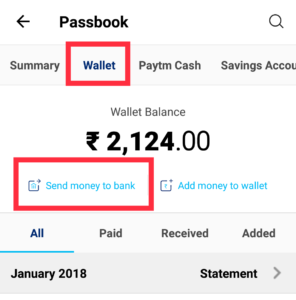 Paytm Transfer Money To Bank Account For Free Step 2
