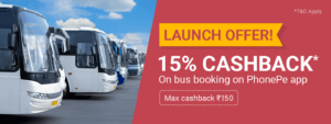 Phonepe- Get flat 15% Cashback on First Bus Ticket Booking on Phonepe App (Max Rs 150) image