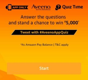 Amazon Aveeno Quiz Answers