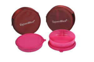 Amazon- Buy Signoraware Mini Meal Lunch Box with Bag Set, 550ml, Set of 2, Pink at Rs 324 image
