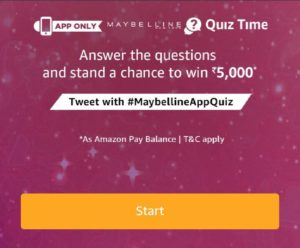Amazon Maybelline Quiz Time Answer