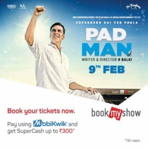 Bookmyshow - Supercash on Booking Padman Movie Tickets