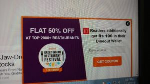 Dineout - Get Free 100 Credits from Economictimes