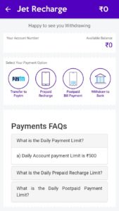 Jet Recharge App Refer and Earn Bank PayTM