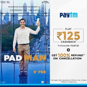 Paytm - Flat Rs. 125 Cashback on Padman Movie Tickets