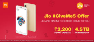 Redmi Note 5 Jio Offer – Get Rs 2200 Cashback + Double Data image