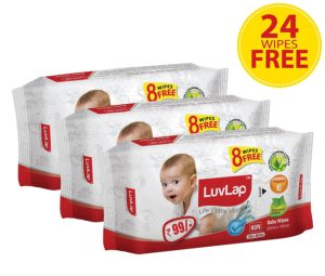 Amazon - Buy Luvlap Paraben Free Baby Wet Wipes with Aloe Vera - 3 packs (216 Wipes + 24 Wipes Free) at Rs 178