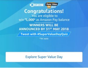 Amazon Super Value Day Quiz Answers Today April