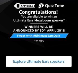 Amazon Ultimate Quiz time Answers