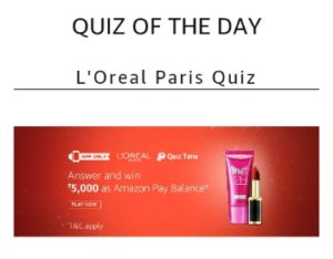 L'Oreal Paris Contest Answers