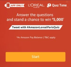 L'Oreal Quiz Time Answers Today