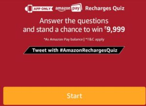 amazon pay recharge quiz win Rs 9999 pay balance