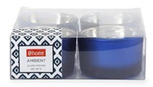 @Home Ambient Glass Votive (5.52 cm x 6 cm x 3.51 cm, Blue, Set of 4)