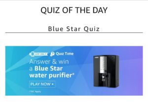 Amazon Blue Star Quiz Answers