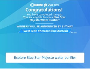 Amazon Blue Star Water Purifier Quiz