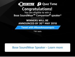 Amazon Bose Speaker Quiz Answers