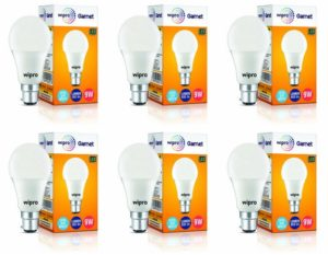 Amazon- Buy Wipro Garnet Base B22 9-Watt LED Bulb (Pack of 6, Cool Day Light) at Rs 457 only