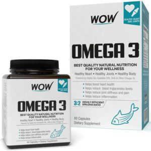 Amazon - Buy Wow Omega-3 Fish Oil 1000 mg Triple Strength 550 mg EPA 350 mg - 60 Capsules at Rs 450