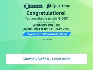 Amazon Garmin Vivofit 4 Quiz
