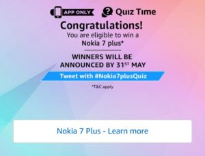 Amazon Nokia 7 Quiz Answers