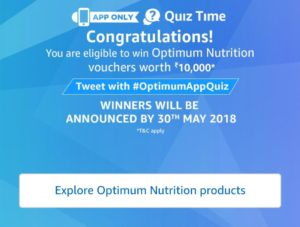 Amazon Optimum Nutrition Quiz