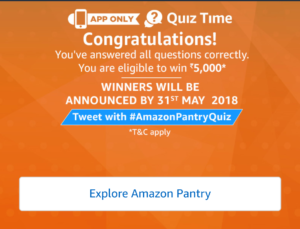 Amazon Pantry Quiz Time Answers April