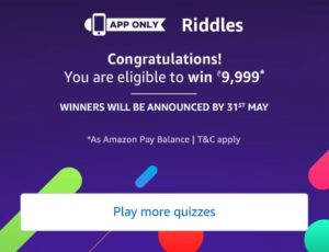 Amazon Riddles Quiz Rs 9999 Answers