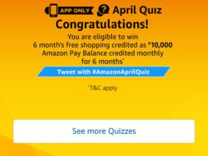 April Quiz Answers of Amazon