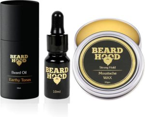 BEARDHOOD Earthy Tones Beard Oil (10ml) & 100% Natural Mustache Wax Strong Hold (30g) (Set of 2)