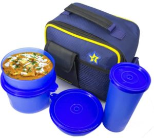 Flipkart SmartBuy Square Blue 4 Containers Lunch Box
