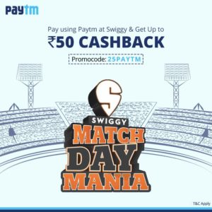 Swiggy - Get 25% Cashback upto Rs 50 on paying via Paytm