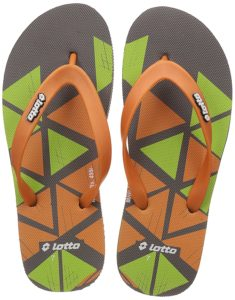 Amazon- Buy Lotto Men's Dark Grey/Orange/Lime Hawaii House Slippers at Rs 99