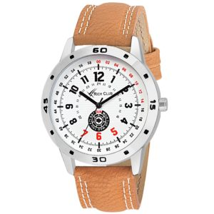 Amazon- Buy Rich Club Steel Bezel With Leather Strap Analog Watch at Rs 199