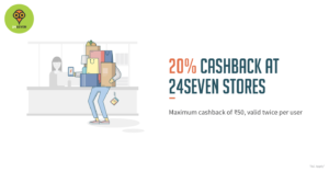 Freecharge- Get Flat 20% Cashback at 24 7 Retail stores