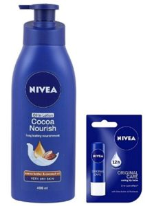 Nivea Cocoa nourish long lasting Lotion, 400ml with Free Nivea Original Care Lip Balm, 4.8g