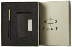 Parker Vector Gold Trim Fountain Pen with Free Card Holder