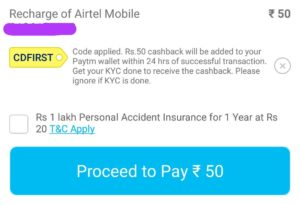 Paytm (Proof) - Get Rs. 50 Cashback on Recharge of Rs 50